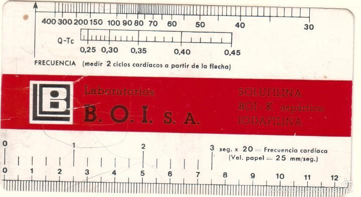 TARJETA PUBLICITARIA DE LABORATORIOS B.O.I. CON MEDICIONES PARA FRECUENCIAS CARDÍACAS. (Coleccionismo - Laminas, Programas y Otros Documentos)