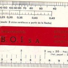 Coleccionismo: TARJETA PUBLICITARIA DE LABORATORIOS B.O.I. CON MEDICIONES PARA FRECUENCIAS CARDÍACAS. . Lote 58137105