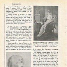 Coleccionismo: LAMINA 3987: NAPOLEON BONAPARTE A LOS 16 AOS Y LAETITIA RAMOLINO. Lote 57902924
