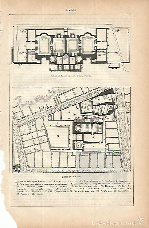 Lamina Espasa 9736 Baos De Pompeya Y Baos De B Comprar Documentos - Baos-antiguos
