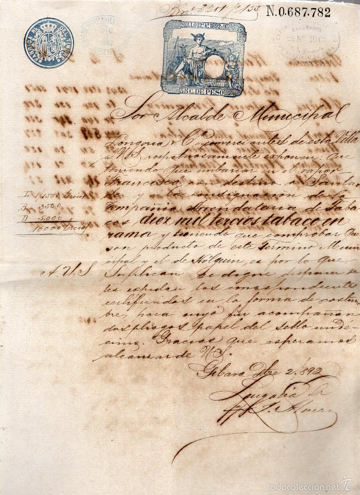 GIBARA, CUBA. 1892. LONGORIA Y COMPAÑIA. TRASLADO DE TABACO A SANTANDER CON CERTIFICADO DE E/S. (Coleccionismo - Objetos para Fumar - Otros)