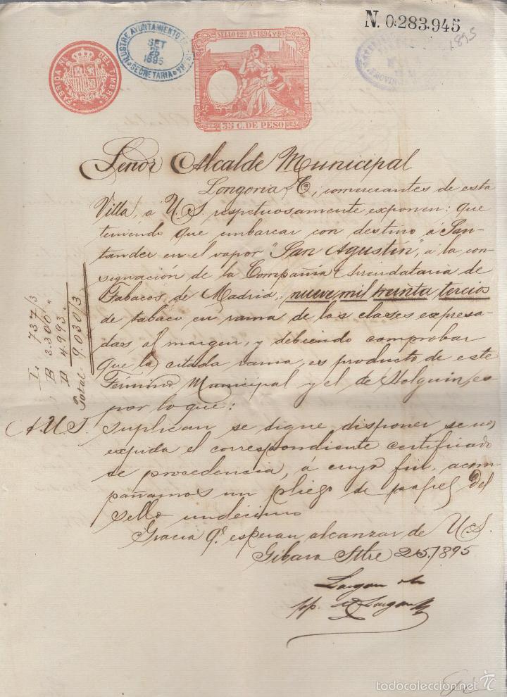 GIBARA, CUBA. 1895. COMPAÑIA ARRENDATARIA DE TABACO DE MADRID. VAPOR SAN AGUSTIN A SANTANDER. LEER (Coleccionismo - Objetos para Fumar - Otros)
