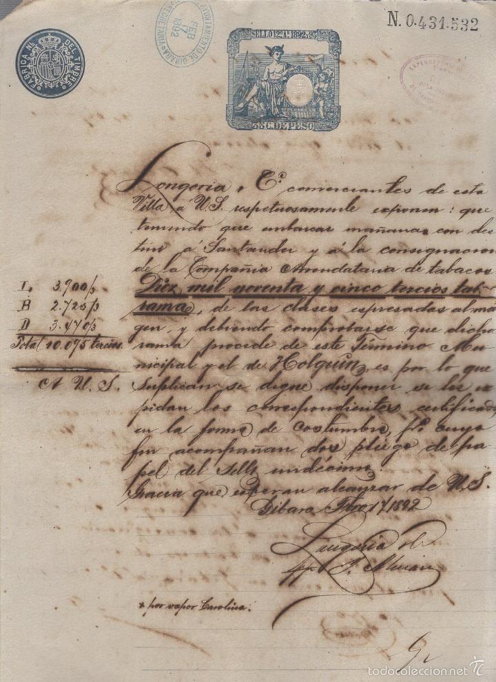 GIBARA, CUBA. 1892. CIA. ARRENDATARIA TABACO MADRID. LONGORIA Y COMPAÑIA. CERTIFICADO DE PROCEDENCIA (Coleccionismo - Objetos para Fumar - Otros)