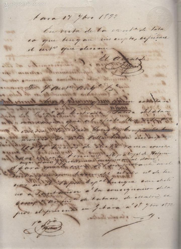Coleccionismo: GIBARA, CUBA. 1892. CIA. ARRENDATARIA TABACO MADRID. LONGORIA Y COMPAÑIA. CERTIFICADO DE PROCEDENCIA - Foto 2 - 58618821
