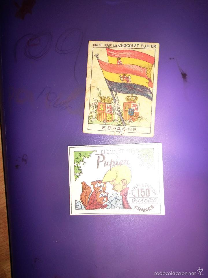 PUPIER REPUBLICA ESPAÑOLA CROMO ESCUDO ANTIGUO CHOCOLATE BANDERA ESPAÑA REPUBLICANA Y NACIONAL (Coleccionismo - Varios)