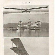 Coleccionismo: LAMINA ESPASA 10924: MONOPLANO INFLEXIBLE DE 1928 EL CAPRONI DE 1921 Y TRIPLANO BRITANICO DE 1919. Lote 59043291