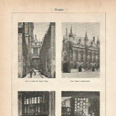 Coleccionismo: LAMINA ESPASA 11796: VISTAS DE BRUJAS BELGICA. Lote 59053566