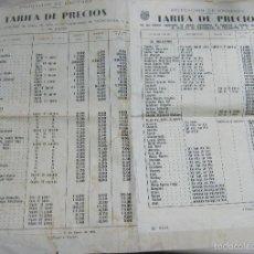 Coleccionismo: TARIFA DE PRECIOS. TABACO. TABACALERA. 1965. CON PRECIO DE CIGARROS NACIONALES E INTERNACIONALES. Lote 59807472