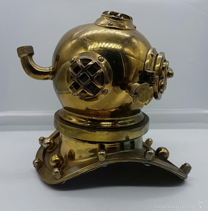 Coleccionismo: Reproducción de antigua escafandra de buzo en bronce, cobre y cristal . - Foto 4 - 96927243