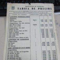Coleccionismo: TARIFA DE PRECIOS. TABACO. TABACALERA. 1961. TABACOS NACIONALES E INTENACIONALES. Lote 60559747