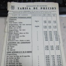 Coleccionismo: TARIFA DE PRECIOS. TABACO. TABACALERA. 1961. TABACOS NACIONALES E INTENACIONALES. Lote 60559775