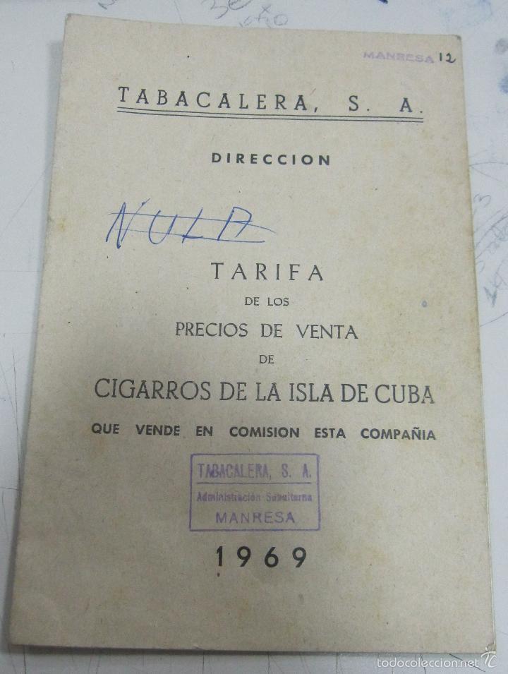 TARIFA DE LOS PRECIOS DE VENTA DE CIGARROS DE LA ISLA DE CUBA. 1969. TABACALERA S.A. 13 PAGINAS (Coleccionismo - Objetos para Fumar - Otros)