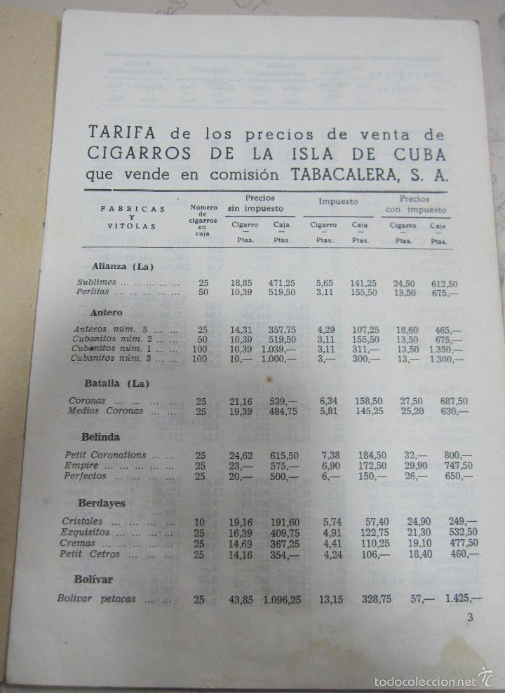 Coleccionismo: TARIFA DE LOS PRECIOS DE VENTA DE CIGARROS DE LA ISLA DE CUBA. 1969. TABACALERA S.A. 13 PAGINAS - Foto 2 - 136067932