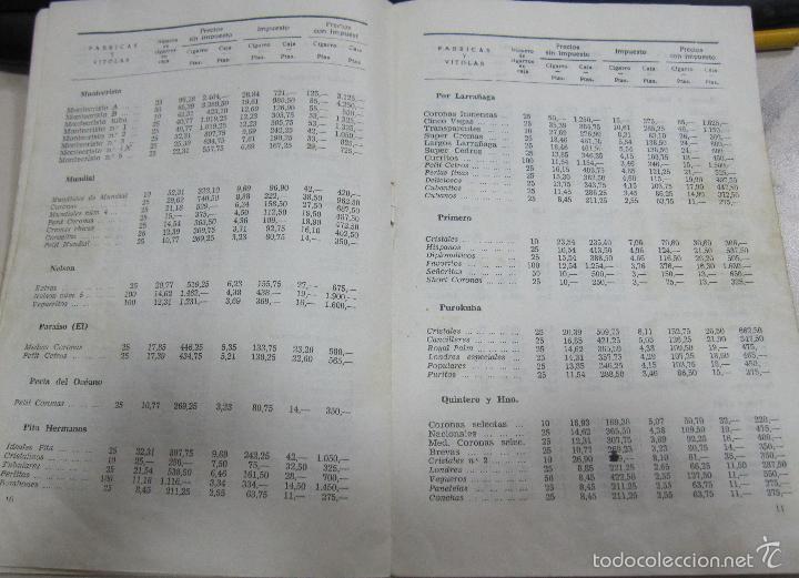 Coleccionismo: TARIFA DE LOS PRECIOS DE VENTA DE CIGARROS DE LA ISLA DE CUBA. 1969. TABACALERA S.A. 13 PAGINAS - Foto 6 - 136067932