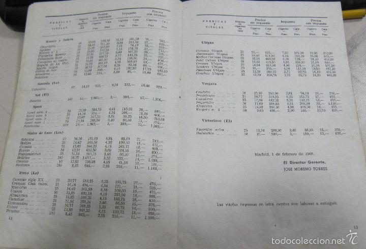 Coleccionismo: TARIFA DE LOS PRECIOS DE VENTA DE CIGARROS DE LA ISLA DE CUBA. 1969. TABACALERA S.A. 13 PAGINAS - Foto 7 - 136067932