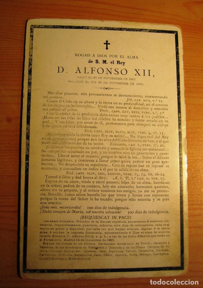 Coleccionismo: RECORDATORIO DE LA MUERTE DEL REY ALFONSO XII - Noviembre -1885 - Foto 2 - 61681728