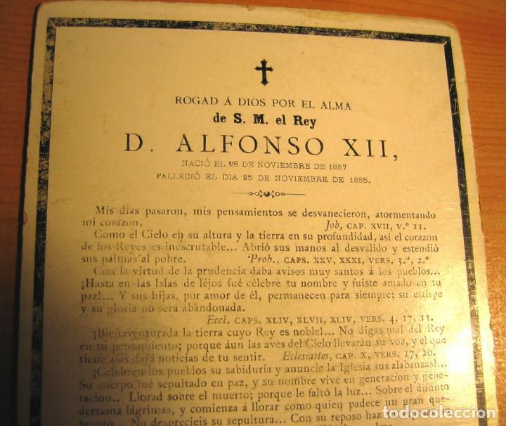 Coleccionismo: RECORDATORIO DE LA MUERTE DEL REY ALFONSO XII - Noviembre -1885 - Foto 3 - 61681728