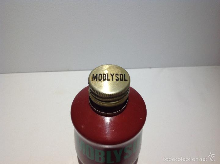 Coleccionismo: Bote envase moblysol industrias frorysol espinardo Murcia botella serigrafi - Foto 4 - 61863388