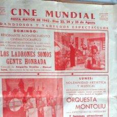 Coleccionismo: PROGRAMA CINE MUNDIAL IGUALADA, BARCELONA, FIESTA MAYOR 1942, DIAS 23, 24, 25 AGOSTO 1942. VER. Lote 61919484