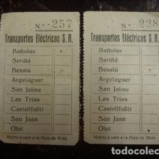 Collectionnisme: TRANSPORTES ELÉCTRICOS S.A BAÑOLAS - OLOT 2 BILLETES - PORTAL DEL COL·LECCIONISTA***. Lote 61994436