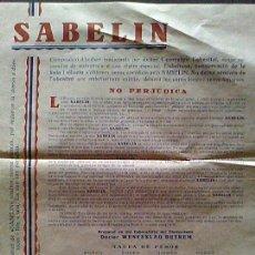 Coleccionismo: PUBLICIDAD HIERBAS MEDICINALES SABELIN LABORATORIO FARMACEUTICO WENCESLAO DUTREN DP CASA SEGALA 1928. Lote 62337816
