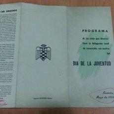 Coleccionismo: PROGRAMA ACTOS QUE DESARROLLARA LA DELEGACION LOCAL DE JUVENTUDES DIA DE LA JUVENTUD SANTOÑA 1958. Lote 62418308