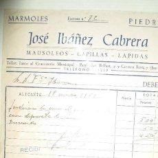 Coleccionismo: DOCUMENTO ANTIGUO MARMOLES LAPIDAS CAPILLAS ALICANTE JOSE IBAÑEZ MAUSOLEOS. Lote 62570308