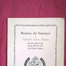 Coleccionismo: FALLAS DE VALENCIA. LIBRO HOMENAJE A VICENTE MUÑOZ QUILES. 1974. Lote 62906460