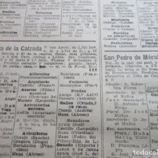 Coleccionismo: BADAJOZ 1947 - PUEBLA DE LA CALZADA SAN PEDRO OLIVA DE MERIDA NAVA DE SANTIAGO MONTIJO MIRANDILLA. Lote 74245178