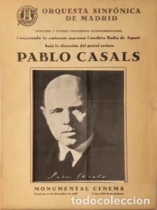 PABLO CASALS. ORQUESTA SINFÓNICA DE MADRID. 1935. PROGRAMA. (CONCHITA BADÍA DE AGUSTÍ (Coleccionismo - Laminas, Programas y Otros Documentos)