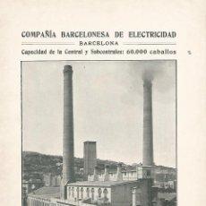 Coleccionismo: LAMINA 046: COMPAÑIA BARCELONESA DE ELECTRICIDAD. Lote 55626018