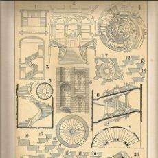Coleccionismo: LAMINA 135: TRATADO DE ARQUITECTURA DE SUGRAÑES - ESCALERAS. Lote 55634219