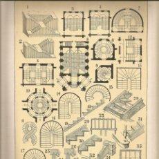 Coleccionismo: LAMINA 136: TRATADO DE ARQUITECTURA DE SUGRAÑES - ESCALERAS. Lote 55634220