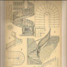Coleccionismo: LAMINA 138: TRATADO DE ARQUITECTURA DE SUGRAÑES - ESCALERAS. Lote 55634222