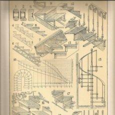 Coleccionismo: LAMINA 140: TRATADO DE ARQUITECTURA DE SUGRAÑES - ESCALERAS. Lote 55634224