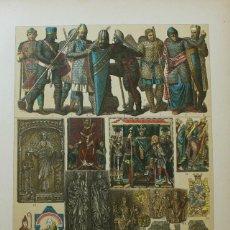 Coleccionismo: LAMINA EDAD MEDIA TRAJES DE GUERRA Y OBJETOS DE CULTO DE LOS ALEMANES HASTA EL AÑO 1200. Lote 63579676