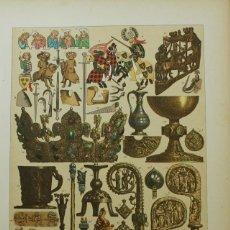 Coleccionismo: LAMINA EDAD MEDIA ARMAS Y OBJETOS DE ARTE Y DE CULTO DE LOS ALEMANES DEL SIGLO XIII. Lote 63581108