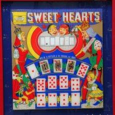Coleccionismo: FRONTAL DE PINBALL SWEET HEARTS CARTAS DE CORAZONES CON REINA DE CORAZONES. ENMARCADO. 69 X 65 CMS. Lote 63737727
