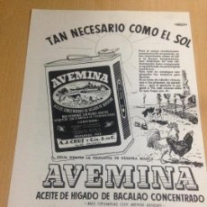 Coleccionismo: ANTIGUA PUBLICIDAD AVENINA ACEITE HIGADO DE BACALAO PALÈNCIA. Lote 63955011