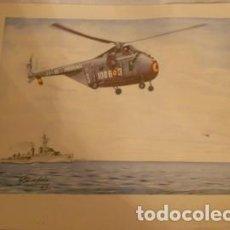 Colecionismo: LÁMINA DE HELICÓPTERO DE LA ARMADA FIRMADA POR GIL DE SOLA EN 1962. Lote 64080591