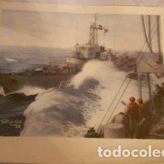 Colecionismo: LÁMINA DE BARCO DE LA ARMADA FIRMADA POR GIL DE SOLA EN 1962. Lote 64080683