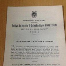 Coleccionismo: PRODUCCIÓN DE FIBRAS TEXTILES SEDA SERICICULTURA MURCIA. Lote 64352839