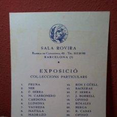 Coleccionismo: INVITACION EXPOSICION OPISSO.LLIMONA..MATILLA.R.CASAS ..ECT . SALA ROVIRA BARCELONA, 1972. Lote 98192052