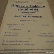 Coleccionismo: ORQUESTA SINFONICA DE MADRID ARBOS, EN EL PALACIO DE LA MUSICA ANATOLE FISTOULARE 1947. Lote 64843179