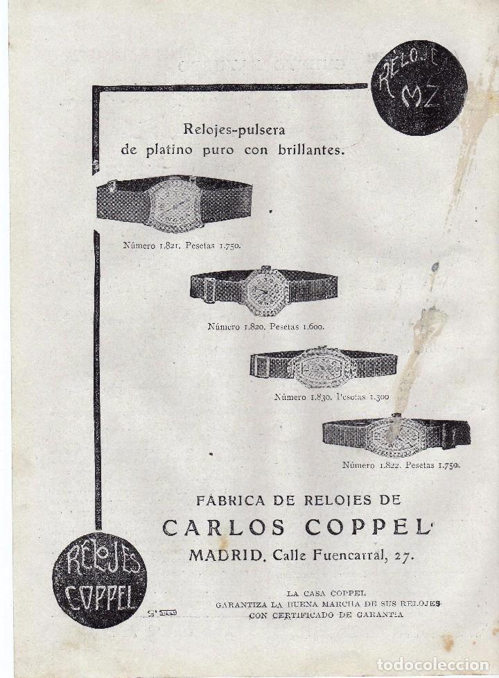 ANUNCIO PUBLICIDAD AÑO 1919-RELOJES COPPEL (Coleccionismo - Laminas, Programas y Otros Documentos)