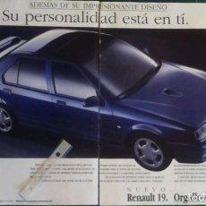Coleccionismo: PUBLICIDAD AUTOMOVIL RENAULT 19 DE 1992. Lote 156982288