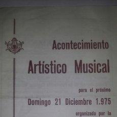 Coleccionismo: PROGRAMA EXTRAORDINARIO CONCIERTO DE GRATITUD. ESCUELA DE MÚSICA LA ARTÍSTICA .MONOVAR 1975. Lote 65804270