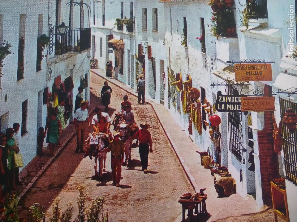 Coleccionismo: Antiguo plato azul turístico de Mijas, Málaga, años 60 Burro taxi Creaciones Regina Torremolinos. - Foto 2 - 65888194