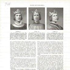 Coleccionismo: LAMINA 4753: RETRATOS DE SANCHO I JAIME II Y JAIME IV. Lote 58463494