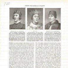 Coleccionismo: LAMINA 4783: RETRATOS DE ENRIQUE III EL DOLIENTE JUAN II Y ENRIQUE IV EL IMPOTENTE. Lote 58463525